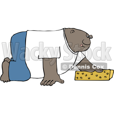 Clipart of a Cartoon Black Man Cleaning the Floor with a Sponge - Royalty Free Vector Illustration © djart #1606277