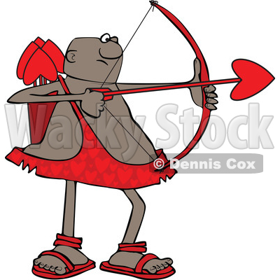 Clipart of a Cartoon Black Male Cupid Shooting an Arrow - Royalty Free Vector Illustration © djart #1606303