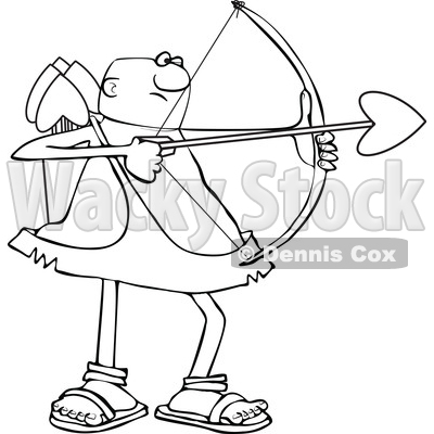 Clipart of a Cartoon Lineart Black Male Cupid Shooting an Arrow - Royalty Free Vector Illustration © djart #1606304