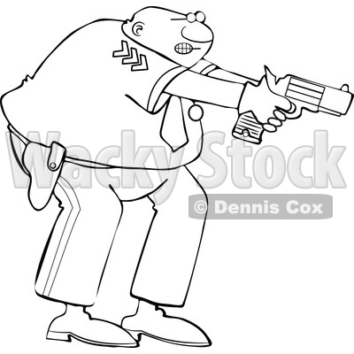 Clipart of a Cartoon Lineart Black Male Police Officer Aiming His Gun - Royalty Free Vector Illustration © djart #1606321