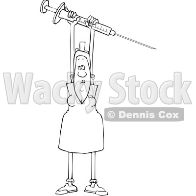 Clipart Illustration of a Black Female Nurse In Scrubs And A Hat, Carrying  A Giant Needle