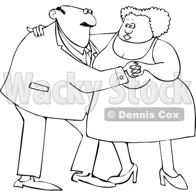 Clipart of a Cartoon Lineart Black Couple Dancing - Royalty Free Vector Illustration © djart #1608504
