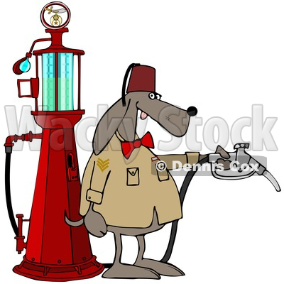 Clipart of a Shriners Dog Attendant by an Old Fashioned Gas Pump - Royalty Free Vector Illustration © djart #1608506