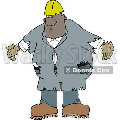 Clipart of a Cartoon Black Male Worker Wearing Old Torn Coveralls and a White Hard Hat - Royalty Free Vector Illustration © djart #1608509