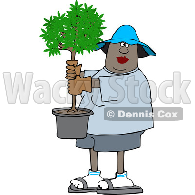 Clipart of a Cartoon Black Woman Carrying a Small Potted Tree - Royalty Free Vector Illustration © djart #1609450