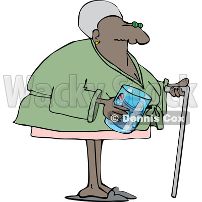 Clipart of a Cartoon Black Senior Woman with a Cane and Her Teeth in a Glass - Royalty Free Vector Illustration © djart #1609454
