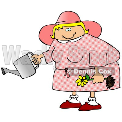 Chubby Blond Woman In Pink, Holding A Yellow Daisy And A Watering Can Clipart Illustration © Dennis Cox #16128