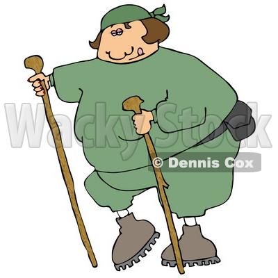 Overweight Woman In Green Sweats, Wearing A Fanny Pack And Using Two Hiking Sticks While Being A Good Sport About Exercising Clipart Illustration © Dennis Cox #16129