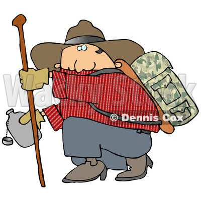 Chubby Cowboy Man Carrying Camping Gear On His Back Holding Onto A Hiking Stick While Crouching To Drink From Canteen Clipart Illustration By Djart