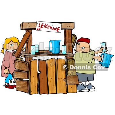 Little Boy And Girl, Brother And Sister, Selling Beverages At A Lemonade Stand Clipart Illustration © djart #16138
