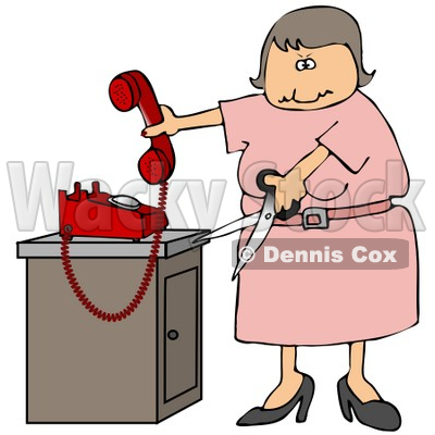 Angry Woman In Pink, Cutting The Cord To Her Landline Phone Clipart Illustration © djart #16144