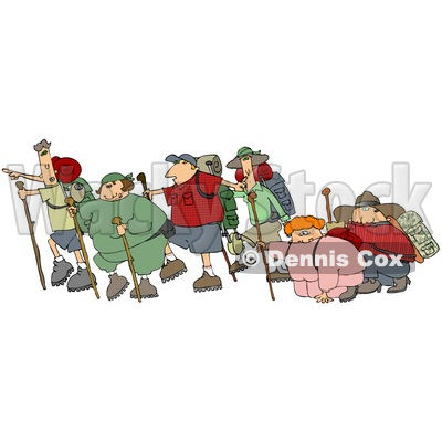 Three Couples With One Skinny Partner And One Chubby Partner Per Couple, All Taking A Hike Together While Two Of Them Struggle Clipart Illustration © djart #16145