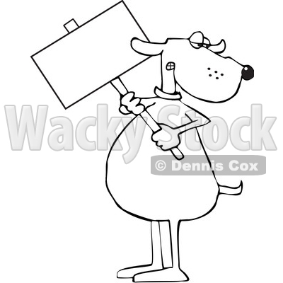 Clipart of a Cartoon Lineart Dog Holding a Blank Sign - Royalty Free Vector Illustration © djart #1616552