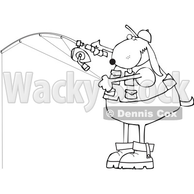 Clipart of a Cartoon Lineart Dog Fishing - Royalty Free Vector Illustration © djart #1616722