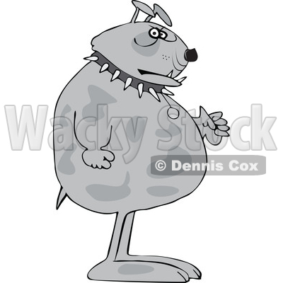 Clipart of a Cartoon Tough Junk Yard Guard Dog - Royalty Free Vector Illustration © djart #1616728