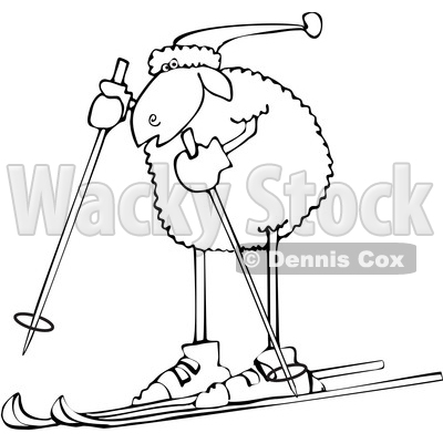 Clipart of a Cartoon Lineart Sheep Skiing - Royalty Free Vector Illustration © djart #1617067