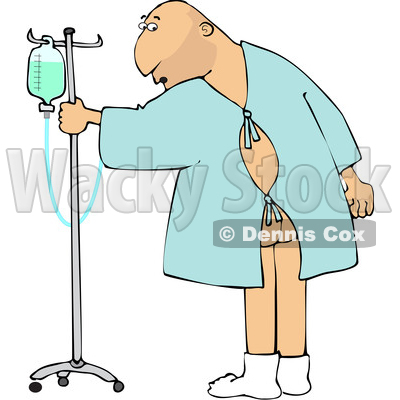 Clipart of a Cartoon White Man Wearing a Hospital Gown and Realizing His Butt Is Showing - Royalty Free Vector Illustration © djart #1617087