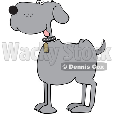 Cartoon Happy Gray Dog © djart #1617710