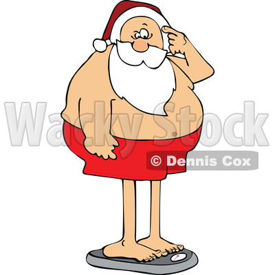 Cartoon Santa Claus Standing on the Scale and Seeing Holiday Weight Gain © djart #1618923