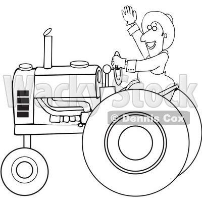 Cartoon Black and White Happy Male Farmer Waving While Operating a Tractor © djart #1618926