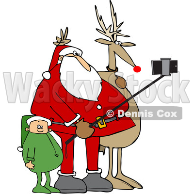 Cartoon Santa Taking a Christmas Selfie with a Reindeer and Elf © djart #1621811