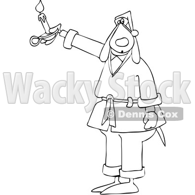 Cartoon Black and White Dog in a Robe, Holding a Candle © djart #1622067
