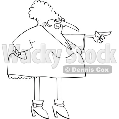 Cartoon Black and White Chubby Angr Woman Pointing © djart #1624138