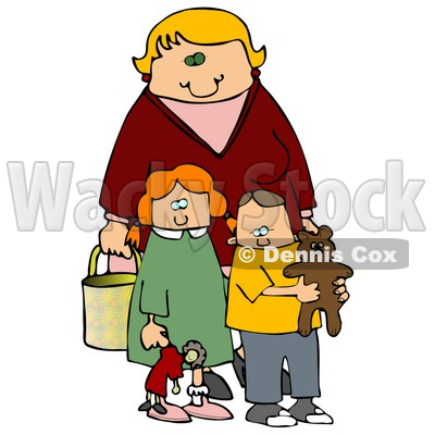 Blond Woman, A Mother, Standing Behind Her Two Children, A Red Haired Girl In A Green Dress Who Is Carrying Her Doll, And A Boy, Her Son, Who Is Wearing A Yellow Shirt And Carrying His Teddy Bear Clipart Illustration Graphic © djart #16242