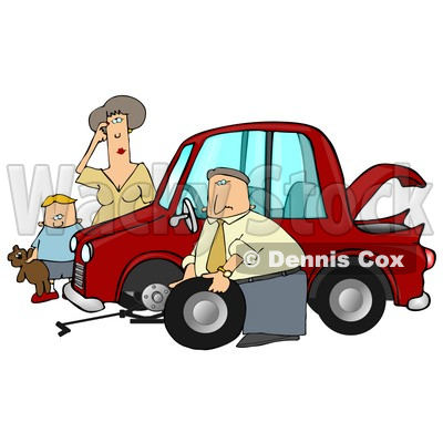 Little Boy Holding His Teddy Bear And Standing By A Worried Woman Sratcing Her Forehead And Watching As A Man, Her Husband Or Stranger, Changes The Flat Tire On Her Car Clipart Illustration Graphic © djart #16244