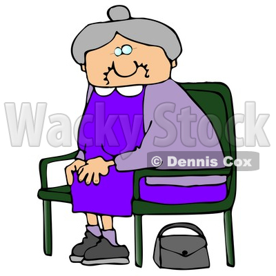 Old Lady With Gray Hair, Wearing A Purple Dress And Sitting In A Chair With Her Purse On The Ground Clipart Illustration Graphic © djart #16247