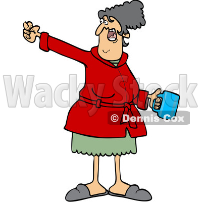Cartoon Angry White Woman in a Robe Holding Coffee and Waving a Fist © djart #1624926