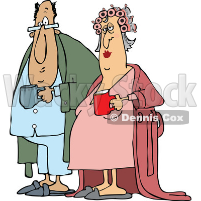 Cartoon Chubby White Couple in Robes and PJs Holding Their Morning Coffee Mugs © djart #1625448