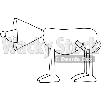 Cartoon Black and White Injured Dog Wearing a Cone © djart #1625608