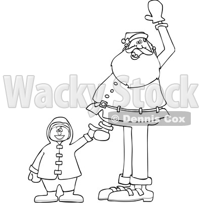 Black and White Santa Holding a Boys Hand and Waving © djart #1627410