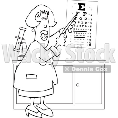 Cartoon Black and White Female Eye Doctor Pointing to a Chart © djart #1627658