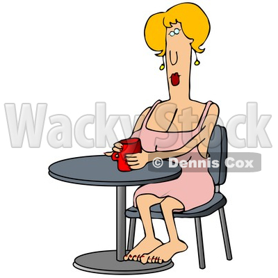 Clipart Illustration Image of a Blond Caucasian Woman In A Pink Dress, Sitting Barefoot At A Table And Cupping Her Hands Around A Warm Red Mug Of Coffee © djart #16281
