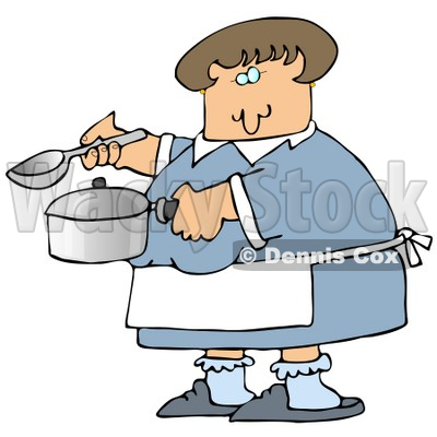 Clipart Illustration Image of a Caucasian Woman In A Blue Dress, White Apron, Blue Socks And Slippers, Holding A Spoon And Pot While Cooking Soup For Supper In A Kitchen © djart #16283