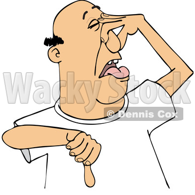 Cartoon White Man Plugging His Nose to Avoid a Stinky Smell and Giving a Thumb down © djart #1629536