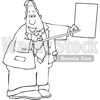 Cartoon Black and White Business Man Pointing to a Piece of Paper © djart #1630763
