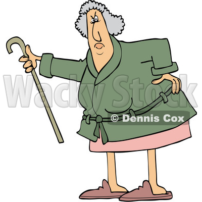 Cartoon Angry Senior Woman Shaking Her Cane © djart #1631298