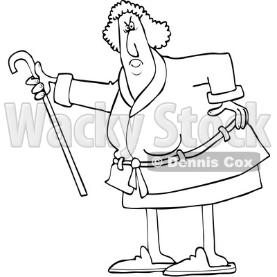 Cartoon Black and White Angry Senior Woman Shaking Her Cane © djart #1631299