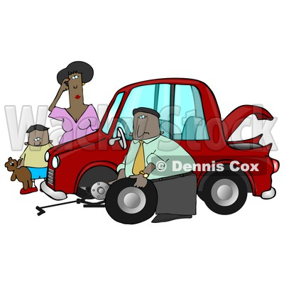 Little African American Boy Holding His Teddy Bear And Standing By A Worried Woman Sratcing Her Forehead And Watching As A Man, Her Husband Or Stranger, Changes The Flat Tire On Her Car Clipart Illustration Graphic © djart #16317