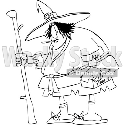 Black and White Sick Witch with a Thermometer in Her Mouth and Tissues in Hand © djart #1632265