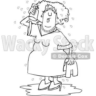 Cartoon Black and White Woman Spraying Herself down During a Hot Flash © djart #1632449