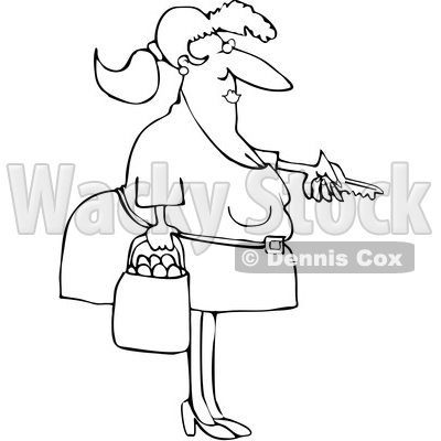 Cartoon Black and White Chubby Woman Holding a Bag of Oranges and Unlocking a Door © djart #1632896