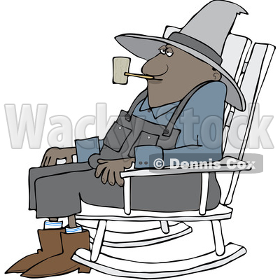 Cartoon Senior Black Man Smoking a Pipe and Sitting in a Rocking Chair © djart #1633292