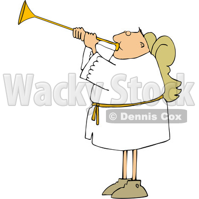 Cartoon White Male Angel Playing a Trumpet © djart #1636339