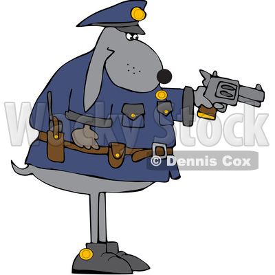 Cartoon Chubby Police Dog Aiming a Pistol © djart #1637491