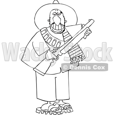 Cartoon Black and White Armed Bandito Holding a Rifle © djart #1637681