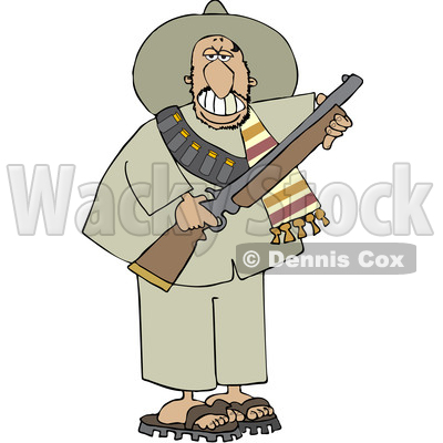 Cartoon Armed Bandito Holding a Rifle © djart #1637682